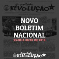 Boletim nacional da JR, 25 de agosto a 08 de setembro de 2018