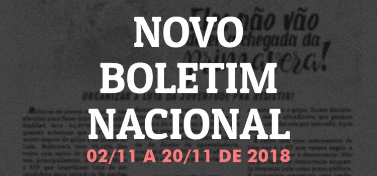 Boletim nacional da JR, 02 de novembro a 22 de novembro de 2018