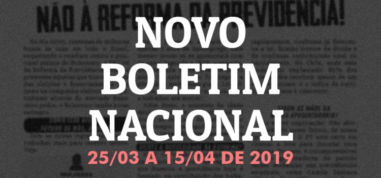 Boletim nacional da JR do PT, 25 de março a 15 de abril de 2019