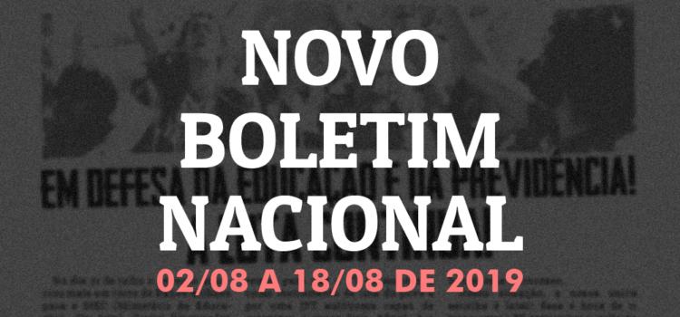Boletim nacional da JR do PT, 02 de agosto a 18 de agosto de 2019